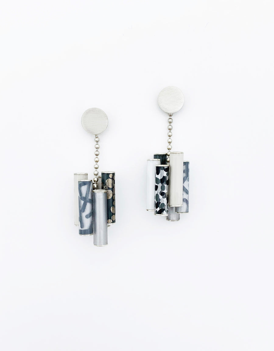 Short Tube Drop Earrings