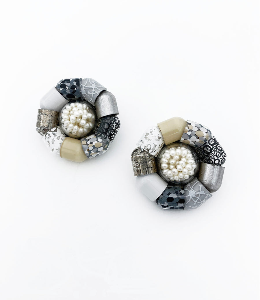 Large Cup Circle Clip Earrings with Freshwater Pearls