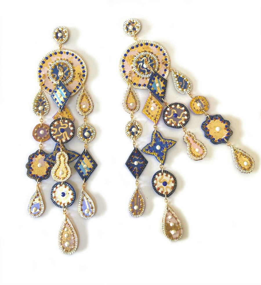 Rich Blue and Gold Long Drop Earrings