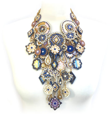 Rich Blue and Gold Dramatic Necklace