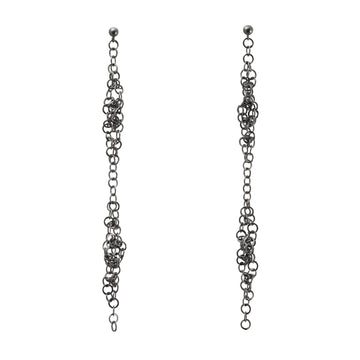 Darrow Double Cluster Earrings- Oxidized Silver