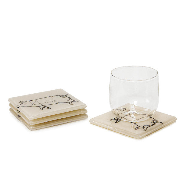 Glass Coaster Set - Pig