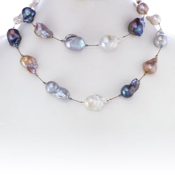 One of a Kind Multi-Color Baroque Pearl Necklace