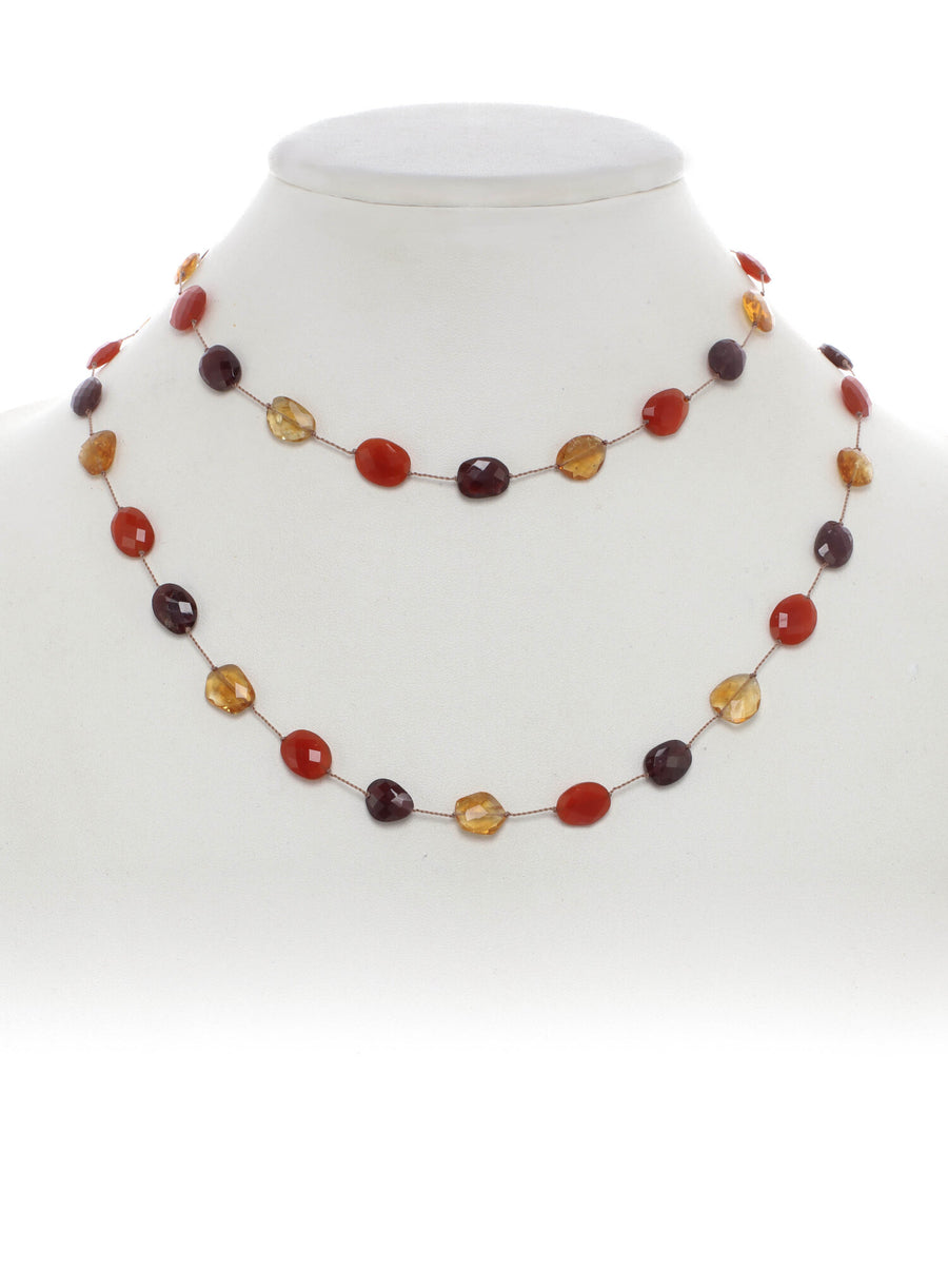 Flat Faceted Citrine, Carnelian, Red Garnet Necklace