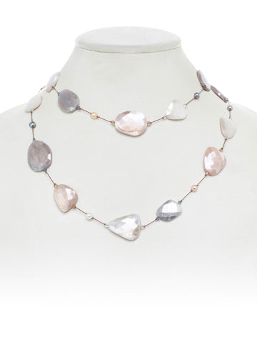 Coated Multi-Color Moonstone and Pearl Necklace
