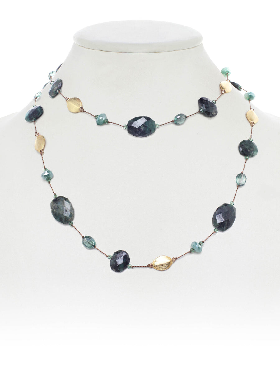 Green Moonstone and Emerald Necklace