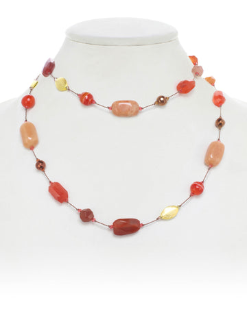 Carnelian, Agate, Rutilated Quartz, Gold Bead, Swarovski Necklace