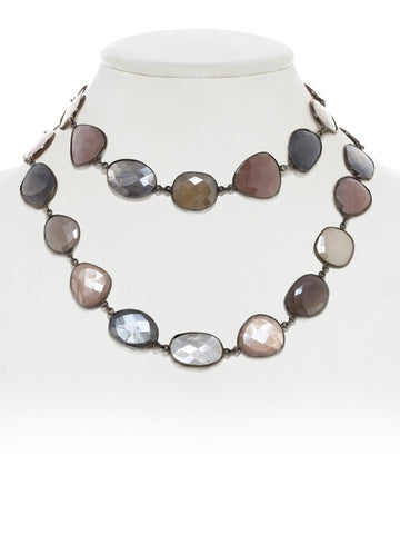 Faceted Mystic Moonstone Necklace