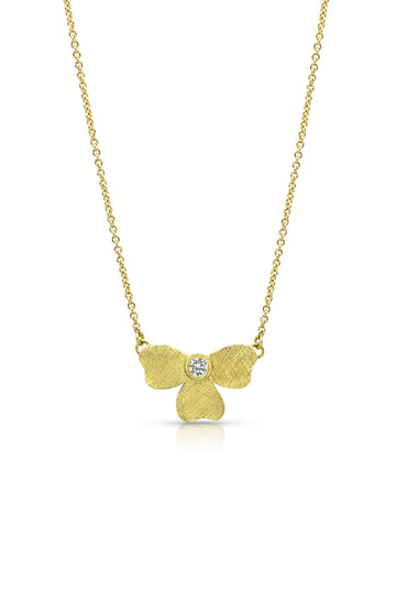 Gold Half Flower Necklace with Diamond