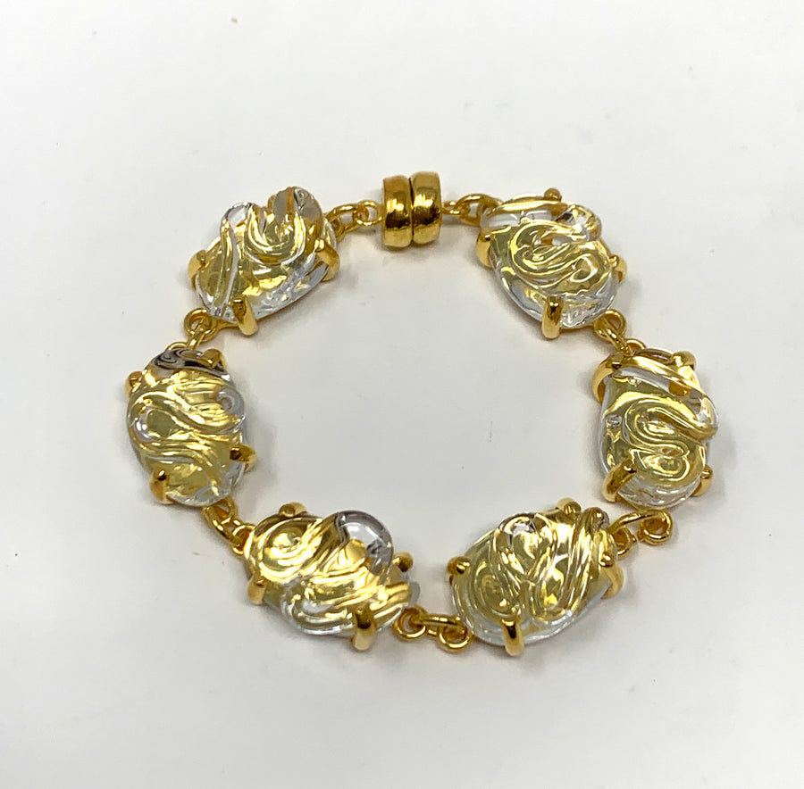 Gold Vermeil and Glass Bracelet