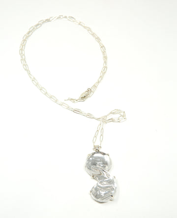 Opera Length Chain with Clear Glass Pendant in Silver