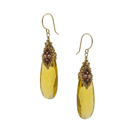 Hydro Quartz Earrings - Citrine
