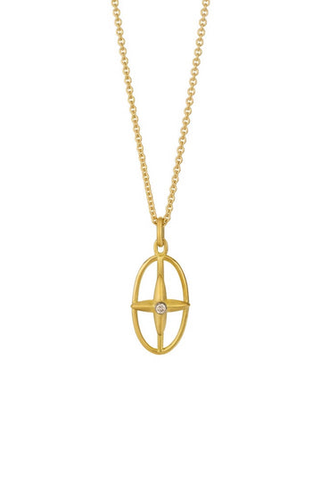 Open Star Cross Diamond Pendant Necklace