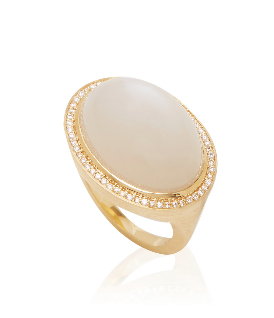Moonstone & Diamond Lollipop Ring