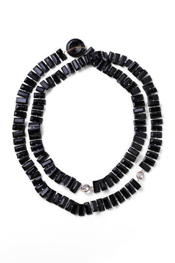 Diamond & Onyx Piano Key Necklace