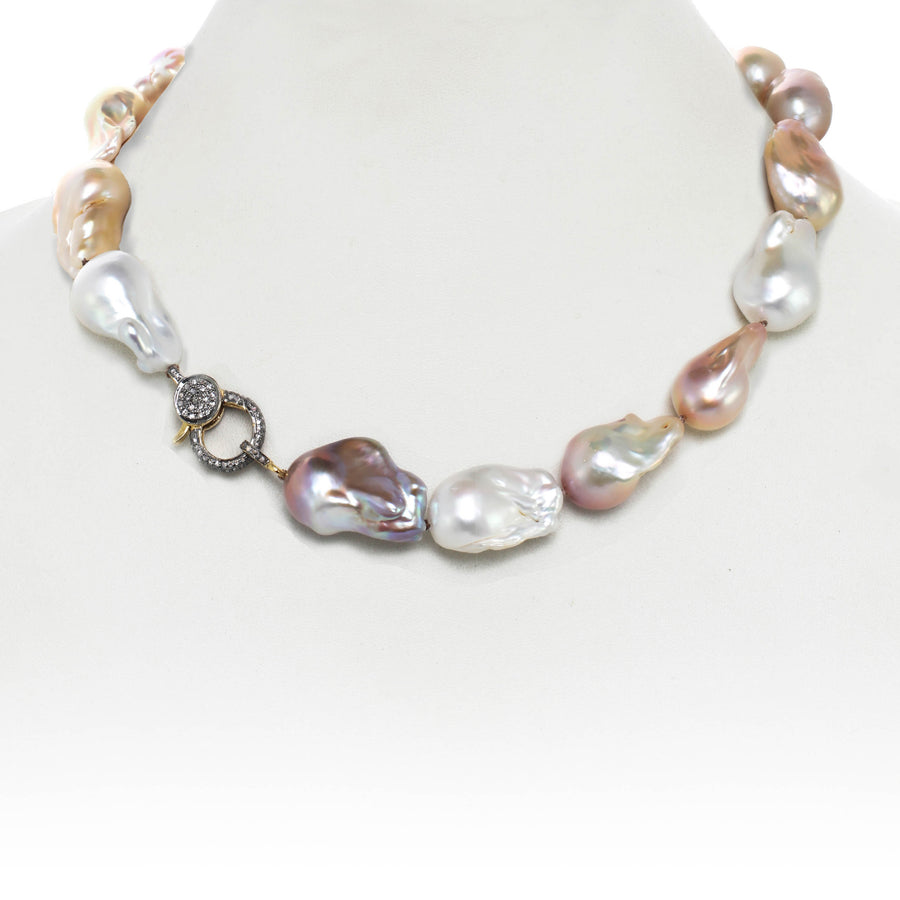 Organic Pink, White & Natural Baroque Pearl & Diamond Clasp Necklace