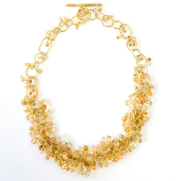 Citrine Beaded Gold Chain Necklace