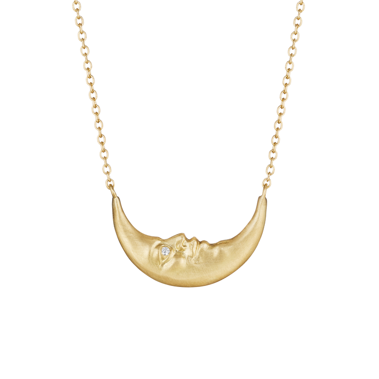 Crescent Moonface Necklace