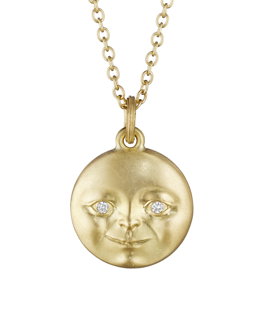 Moonface Pendant with Diamond Eyes