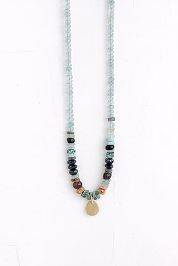 One of a Kind Blue Mixed Gemstones Necklace