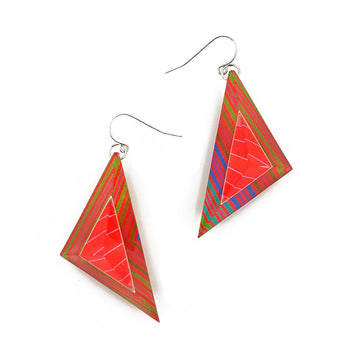 Op Art Triangle Dangle Earrings