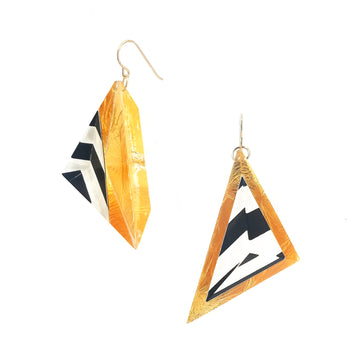 Op Art and Gold Triangle Drop Earrings