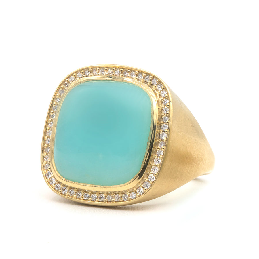 Paraiba Opal and Diamond Cushion Ring