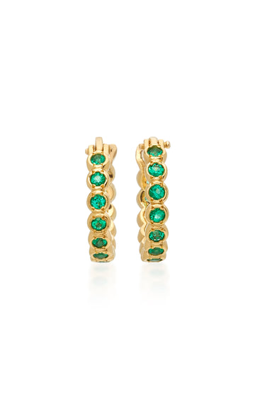 Petite Chloe Emerald Hoop Earrings