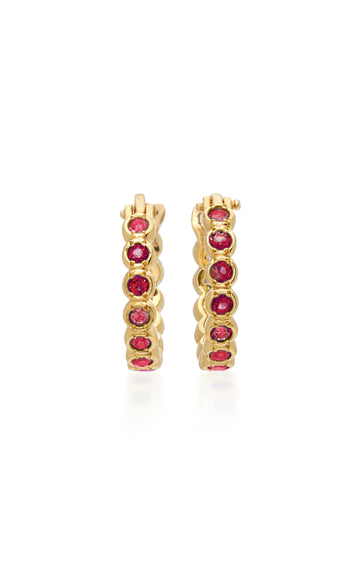 Petite Chloe Ruby Hoop Earrings