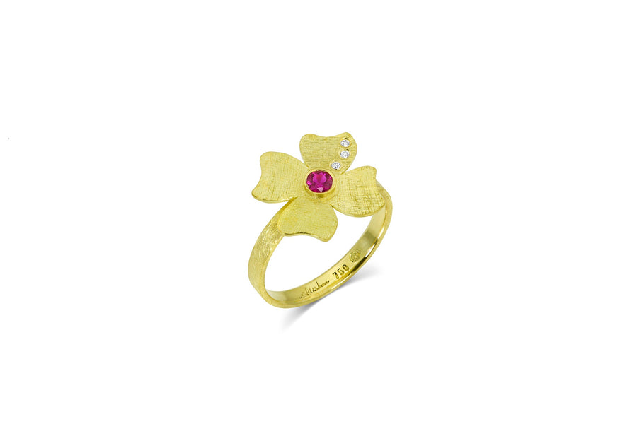 Gold Flower Ring with Diamond & Ruby