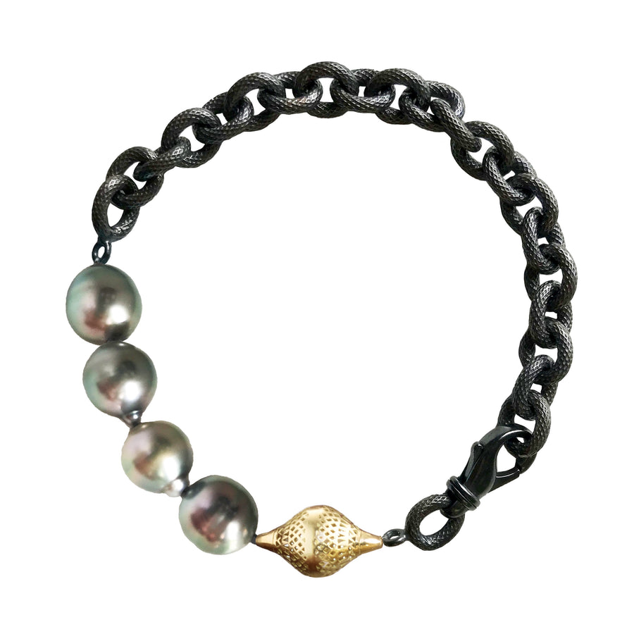 Cable Chain Bracelet with Tahitian Pearls