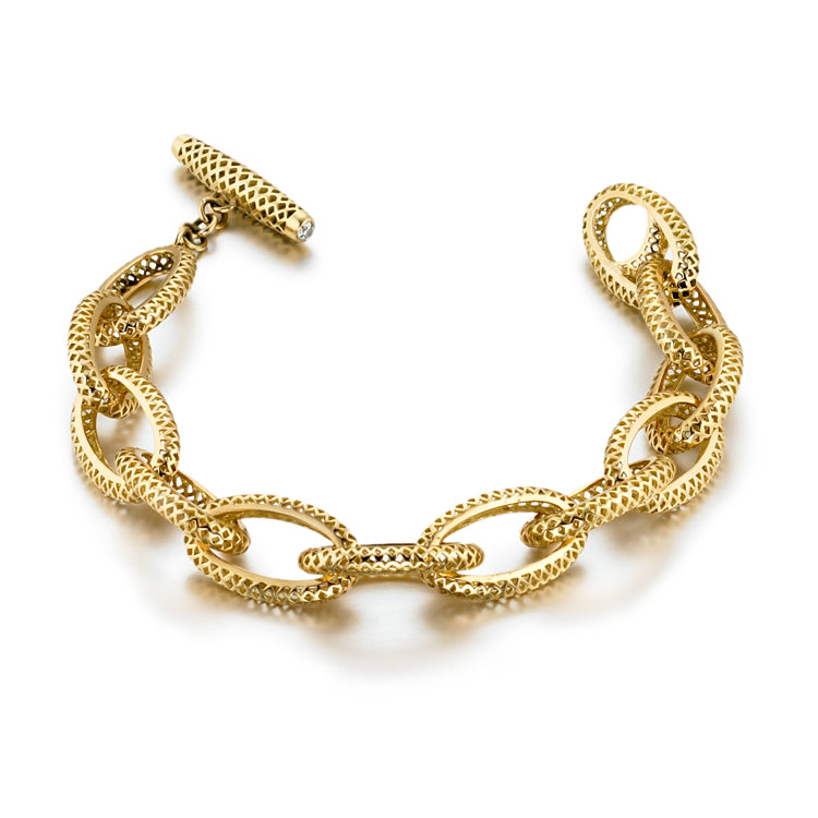 Small Gold Oval Crownwork Link Bracelet