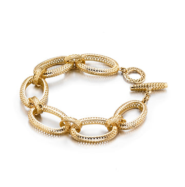 Large Oval Gold Crownwork Link Bracelet