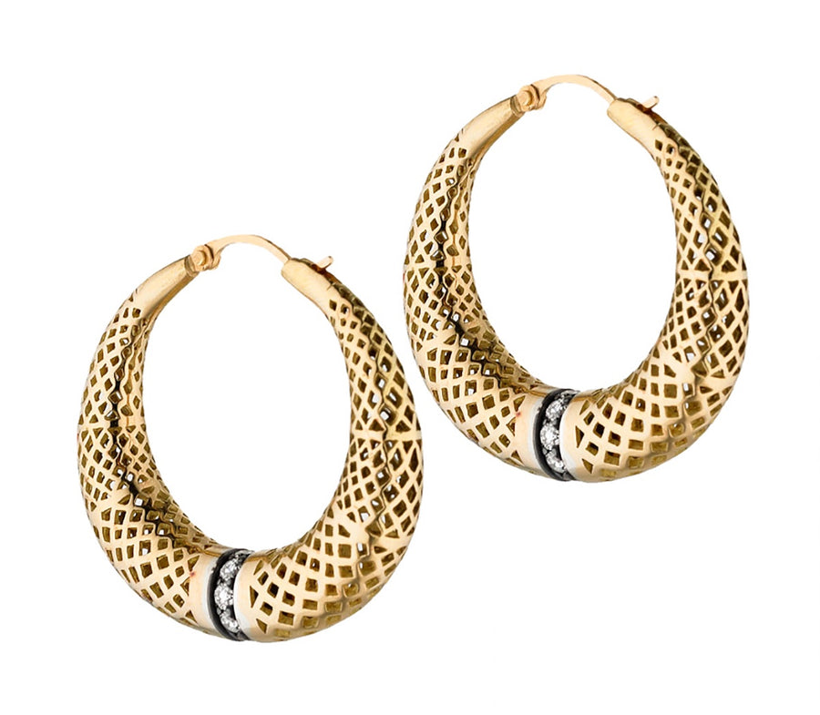 Gold Tapered Crownwork Hoops