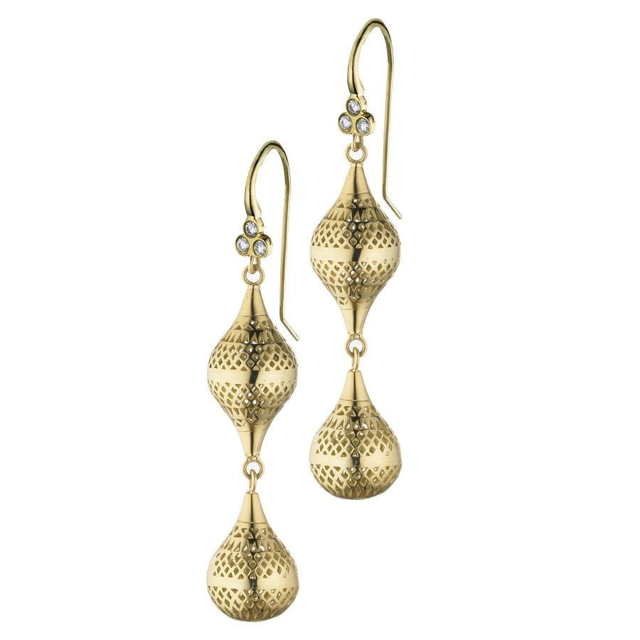 Gold Double Crownwork Small Finial Drop Earrings