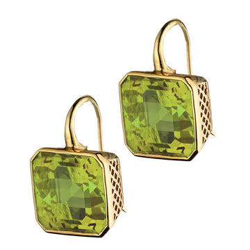 Large Emerald cut Crownwork Green Citrine Earrings