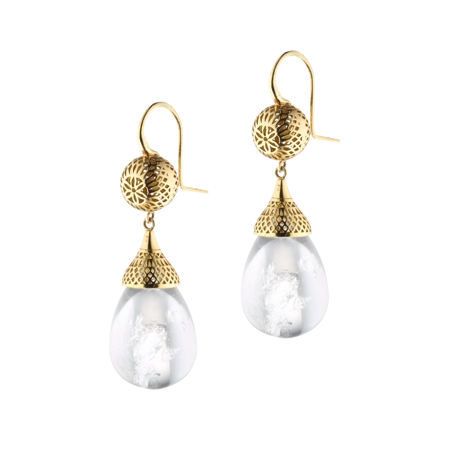 Gold Crownwork Ball Earrings with Natural Quartz Drops