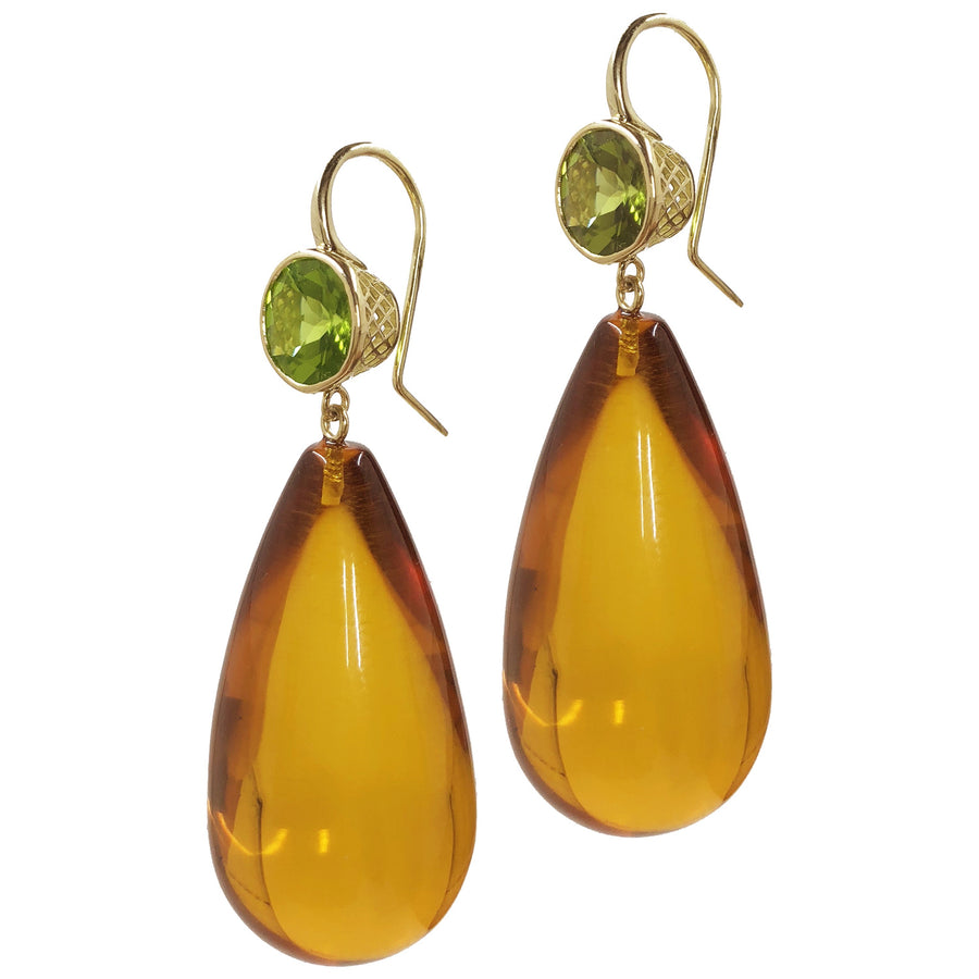 Gold Crownwork Peridot and Amber Drop Earrings