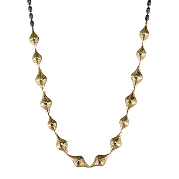 Gold Finials & Oxidized Silver Chain Necklace