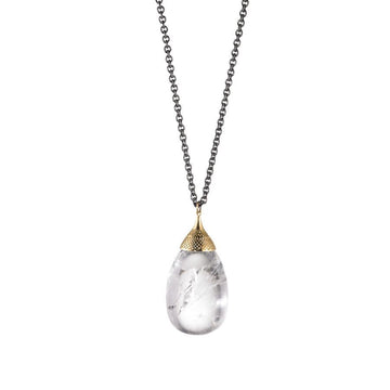 Gold Crownwork Finial Capped Crystal Quartz Egg Pendant