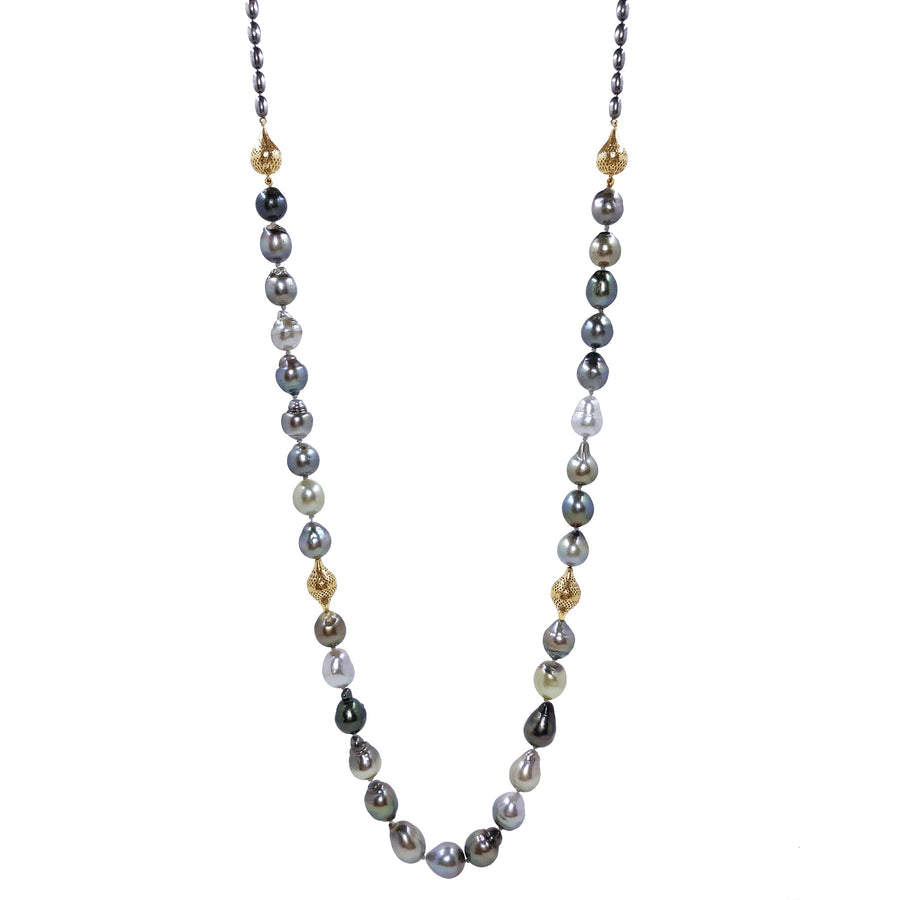 Tahitian Pearl with Gold Crownwork Finials & Amphoras