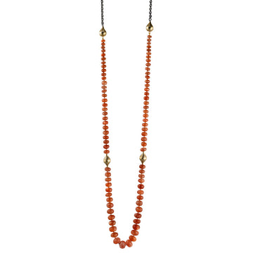 Sunstone Beads with Gold Crownwork Finials and Amphoras