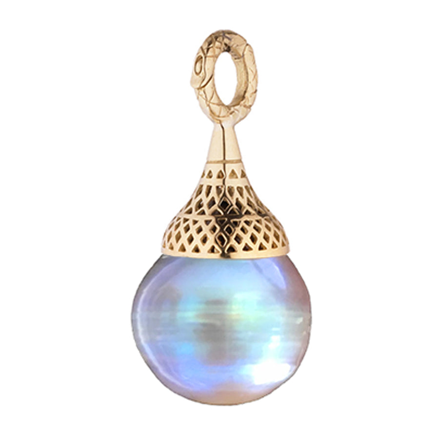 Gold Crownwork Finial Cap Pendant with Natural Color Pearl