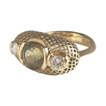 Gold Crownwork Dress Ring with Pale Green Zicon & Diamonds