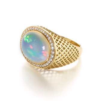 Gold Crownwork Dress Ring with Opal & Diamonds