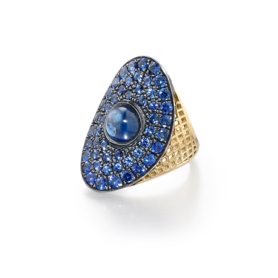 Gold Crownwork Regency Ring with Blue Sapphires