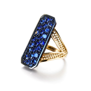 Gold Crownwork Edwardian Ring with Blue Ceylon Sapphires