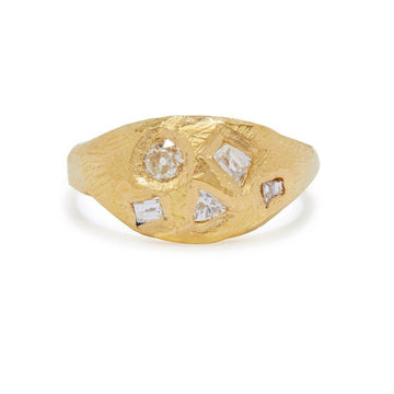 Geometric Diamond Signet ring