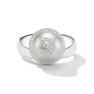 Pearl ID Pavé Diamond and White Gold Single Initial or Symbol Ring