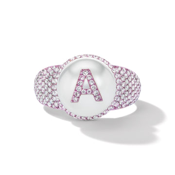 Pearl ID Pink Nano-Ceramic and Pavé Diamond Ring
